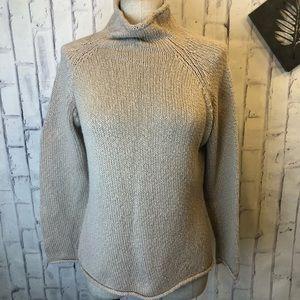 LL Bean tan cable knit turtleneck sweater. Medium